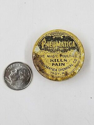 Vintage Pneumatica Kills Pain Miniature Sample Medicine Tin Troy Ny