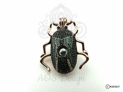 Scarab Beetle Pearl Cage Rose Gold Charm Egyptian Necklace The Mummy Locket