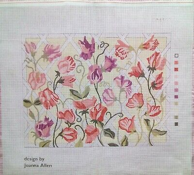 Printed Canvas Needlepoint Tapestry Sweet Pea Trellis Joanna Allen Delicate Pink