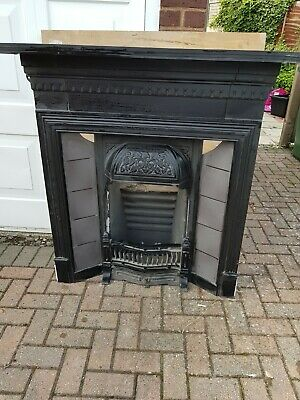 replica edwardian/victorian cast iron fireplace with tile insert