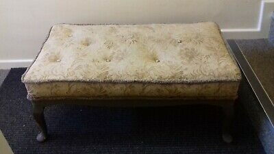 Queen Anne antique victorian large stool seat tapestry footstool vintage