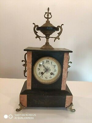 Antique French L.P Japy & Cie 1878 Black & Pink Marble Mantel Clock