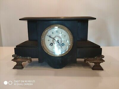 Antique Vintage French AD.Mougin Deux Medaille Black Marble Clock - Art Deco