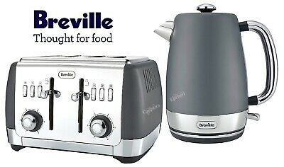 Breville Strata Kettle and Toaster Set Grey Kettle & 4-Slot Toaster - New
