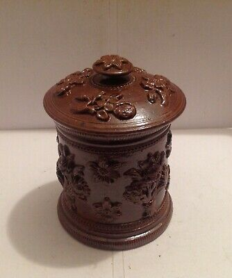 Beautiful 19Th Century French Brown Saltglaze Stoneware Jar And Cover
