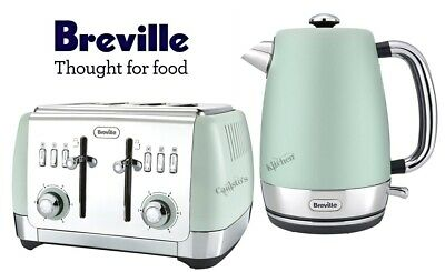 Breville Strata Kettle and Toaster Set Green Kettle & 4-Slot Toaster - New