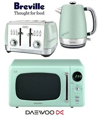 Breville Strata Kettle and Toaster with Daewoo Microwave - Green