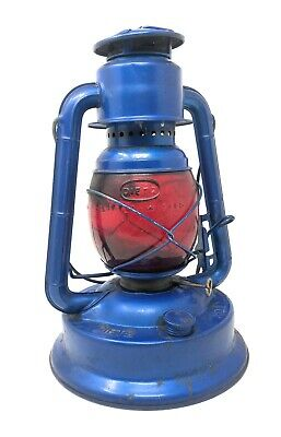 6Antique Vintage Dietz Blue Little Wizard Lantern With Red Glass Globe Free Ship