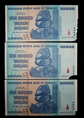 3 x Zimbabwe 100 Trillion dollar banknotes-2008/DAMAGED/POOR CONDITION CURRENCY