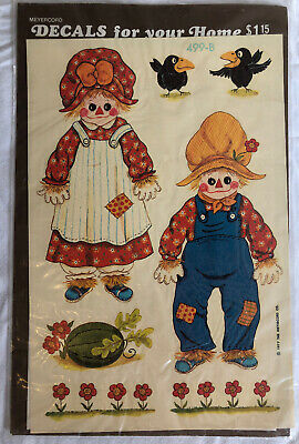 Vintage 70s New Meyercord Glass Door Decals 499-B Scarecrow Crows Halloween Fall