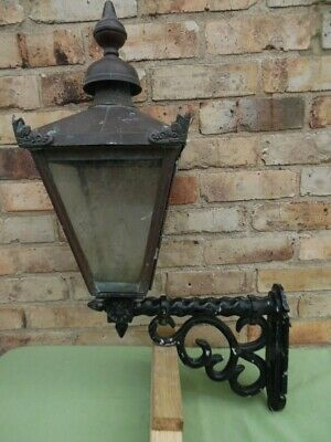 Stunning Large Rare Victorian Copper Lights On Metal Wall Brackets Untouched X6