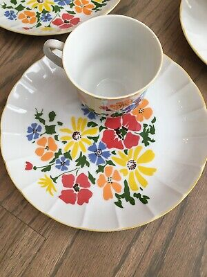 Rubel & Co Luncheon Plates With Cups In Bloom Japan Set Of 4 Vintage