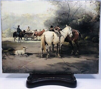 Antique Polish or Russian Early 19th Century Oil on Wood Board Painting Signed
