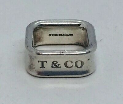 Tiffany & Co. Authentic Sterling Silver 1837 Square Ring Size 4