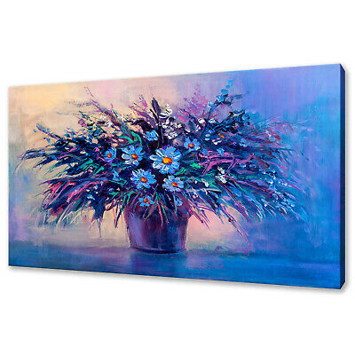 Beautiful Bouquet Of Daisies Oil Painting Style Canvas Print Wall Art Picture