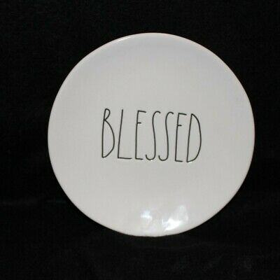 "New Rae Dunn Thanksgiving  BLESSED Round 8"" Ivory Plate  with blk LL  HTF"