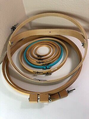 "10 Wood Hoops 4-18"" Crafts Wooden Adjustable Needlepoint Hoop"