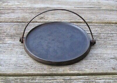 Vintage Wagner Ware Cast Iron Round Bail Handled Toy Griddle with Heat Ring