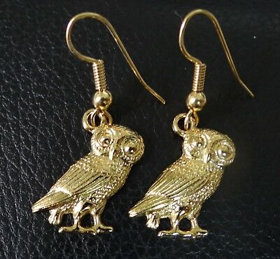 Roman Owl of Minerva earrings in 22 kt Gold on fine Pewter