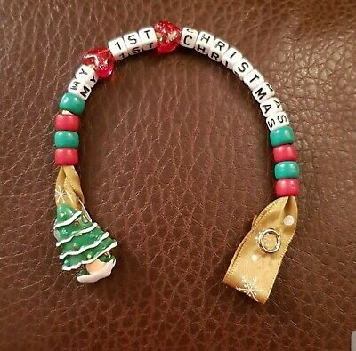 My 1st Christmas Personalised Baby Girls Boys Beaded Dummy Clip Gift ANY WORDS