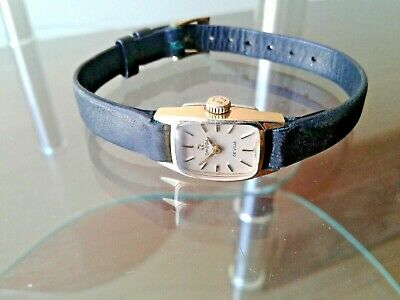 Cute Lady's Omega De Ville Goldplated Tank Watch.nice Original Dial.signed Crown