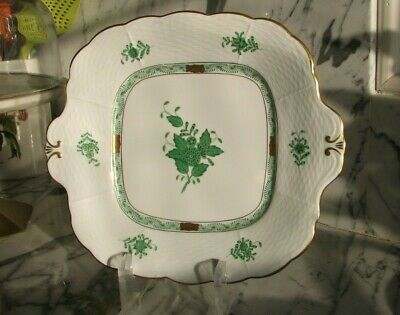 """Herend Hand Painted Chinese Bouquet Green Square Serving Dish 11"""""""