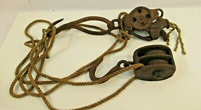 Cast Iron Block Tackle Pulley System Double w Rope VTG Large Rusted Barn Tools