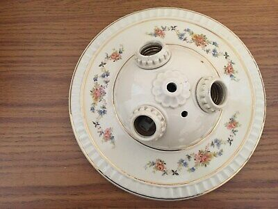 Vtg Ceramic Porcelain 3 Bulb Ceiling Light Fixture Flush Mount Floral