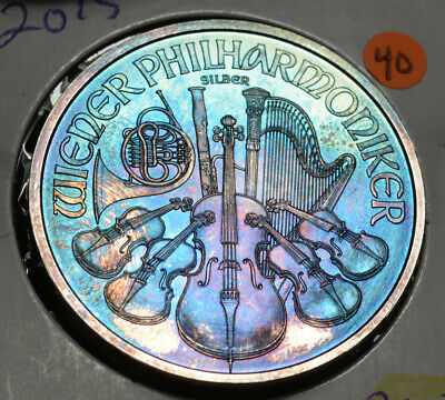 2015 Austrian Philharmonic Silver One Ounce Violet Blue Green Toning {40}