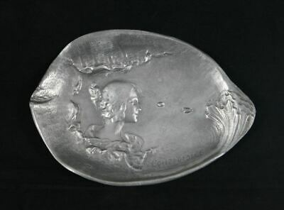 Antique Art Nouveau French maiden pewter dish c1900's signed Courvoisier EAC