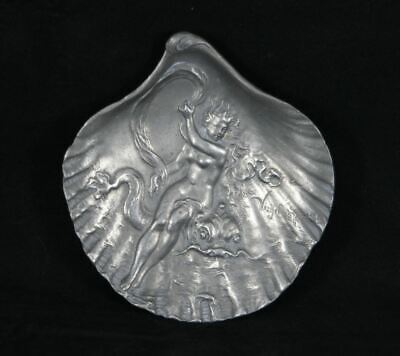 Antique Art Nouveau French maiden pewter dish c1900's signed Virgil Morey EAC