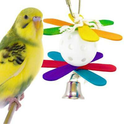 Parrot Pet Bird Toys Chew Hanging Wooden Colorful Plastic Ball Toy Budgie Toy BS