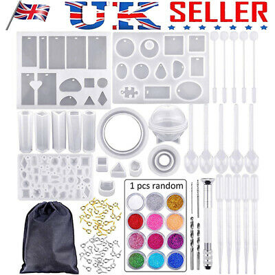 83Pcs DIY Resin Casting Mold Tool Kits Silicone Making Jewelry Pendant Mould UK