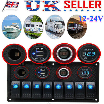 8 Gang ON-OFF Toggle Switch Panel 2 USB 12V For Car Boat Marine RV Truck Camper