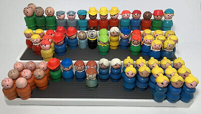 Vintage Fisher-Price Little People Lot Of 68 Wood Wooden Figures