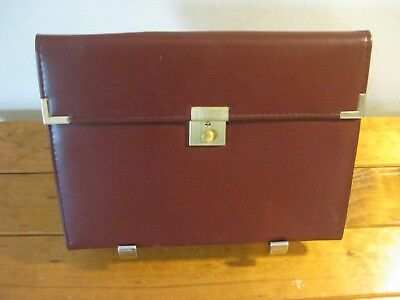 Satchel With Calculator/Pen/Paper - Lock & Key - Maroon (Everything Works)