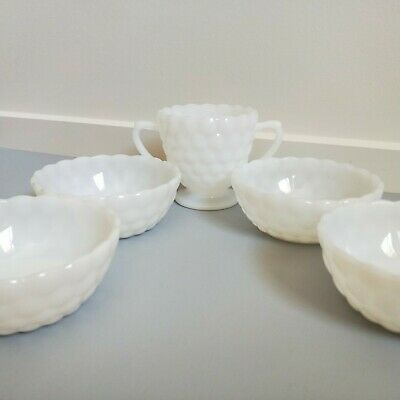 Vintage Milk Glass Sugar Basin and 4x Candy Desert Dish Bowl Kitchenalia 1960s