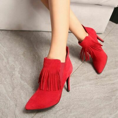 SEXY Womens Pointy Toe Tassel High Slim Heel Pull On Ankle Boots Grace Shoes
