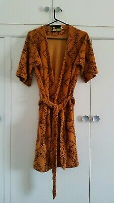 1970s Mens Orange Bathrobe Dressing Gown Vintage Retro Sleepwear Playboy Heffner