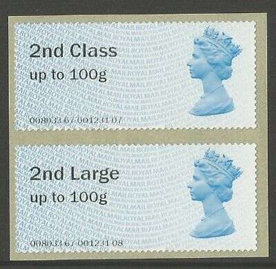 Machin Post and Go 2nd class pair. Date code MA13. Unmounted mint