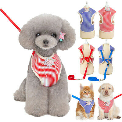 Puppy Small Dog Cat Printed Harness and Walking Leads Set Pet Breathable Vest UK