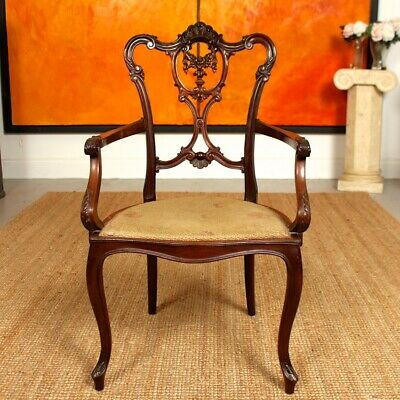 Antique Victorian Elbow Chair Petite Salon Armchair Carved Mahogany