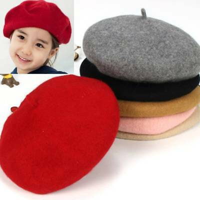 Kid Wool Berets Baby Kids Hats Girl French Cap Hats Spring Autumn Winter 5 Color