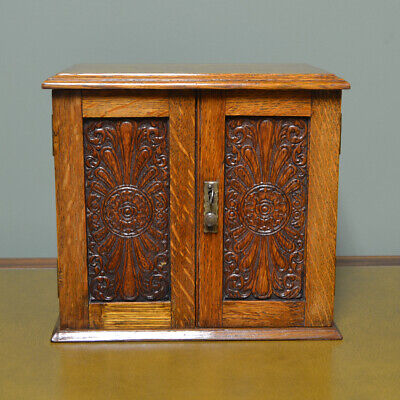 Quality Oak Victorian Small Stationary Box with fitted Interior