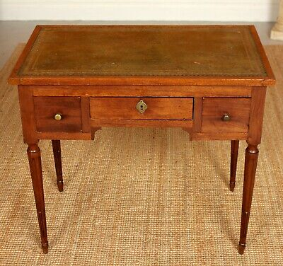 Antique Georgian Desk Writing Table Leather George IV Mahogany Kneehole Drawers