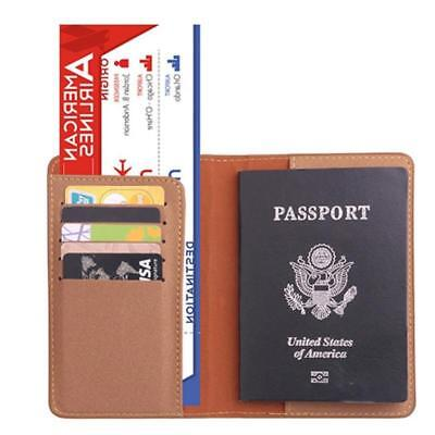 Travel Passport ID Card Wallet Holder Cover RFID Faux Leather Purse Case Bag MA