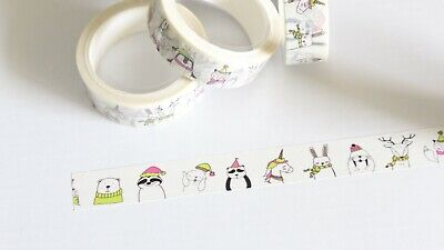 Christmas creatures washi tape, Winter creatures washi tape, 15mm x 5m