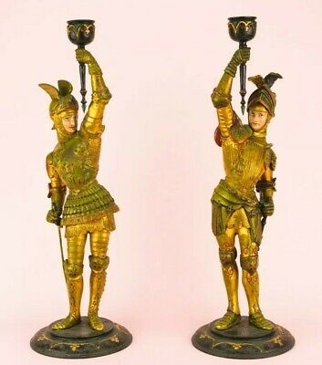1860 Candlesticks Knight Gold Armour Gothic Revival Antique English Victorian