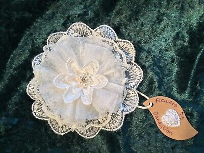Handmade Ivory Vintage Lace and Organza Wedding Hair Accessory Flower Clip