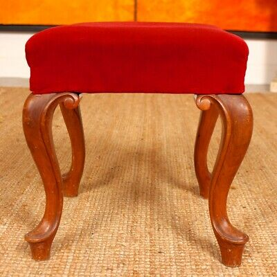 Antique Stool Victorian Mahogany Tall Piano Footstool Country Arts Crafts